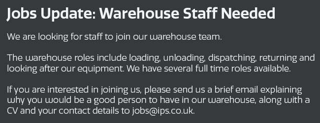 Jobs Warehouse staff update Sept 2019 02